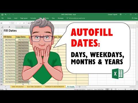AutoFill Dates in Excel - Days, Weekdays, Months & Years