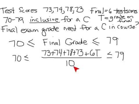 Figure out grade needed on final exam based on test weights.