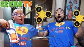 Download Fidget Spinner Nerf Battle! (Who Will Win?) ZZ Dad vs ZZ Kid Video