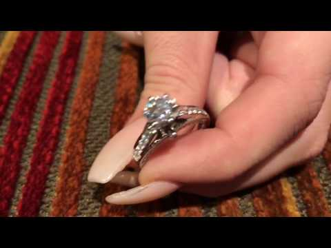 1 Carat High  Quality Round Brilliant Cubic Zirconia Engagement ring 14K White gold