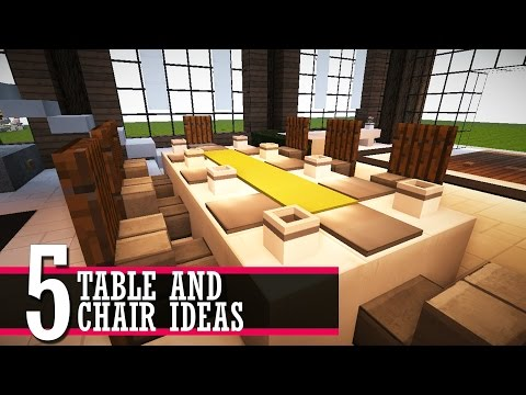 5 table and chair design ideas  (Minecraft Furniture Tutorial)
