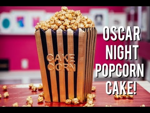 How To Make a POPCORN BOX CAKE for OSCAR NIGHT! Vanilla & Chocolate Cake with Gold Caramel Popcorn!