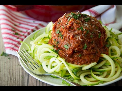 Gluten-Free Jumbo Mozzarella Stuffed Meatball with Zoodles | Say Grace