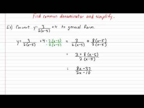 Rational Function Standard to General Form