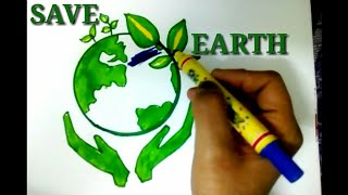 save earth poster tutorial for kids save earth save environment drawing