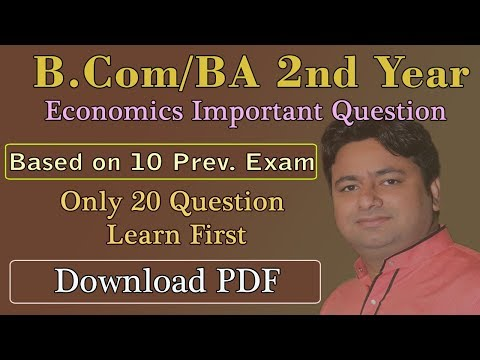 ECONOMICS IMPORTANT QUESTIONS  FOR B.Com and B.A 2ND Year | Macro Economics SOL DU Students 2nd Year