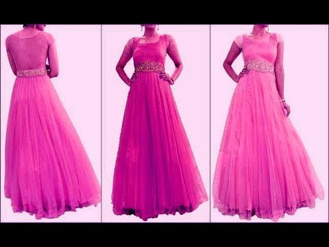Net fabric floor length long gown cutting and stitching