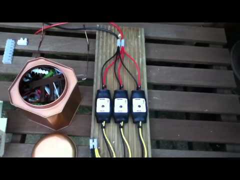 Multiple PWM5 Solar Charge Controllers Charging Car Battery Bank