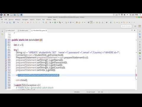 25  JAVA EE Servlets  delete database Student SQL