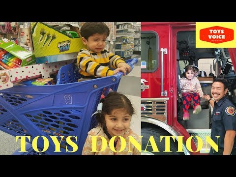 Toys for Tots donation at Toys R Us & Fire Station by Kids | Toys Voice