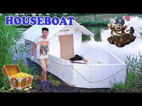 House - boat from Styrofoam - DIY