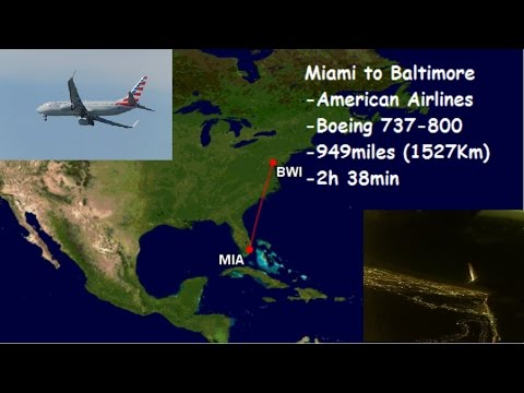 American Airlines AAL Boeing 737-800 AA313 Miami to Baltimore / Washington flight report [HD]