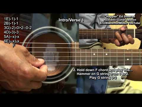 HAPPIER Ed Sheeran How To Play On Acoustic Guitar EricBlackmonGuitar 3 Chords