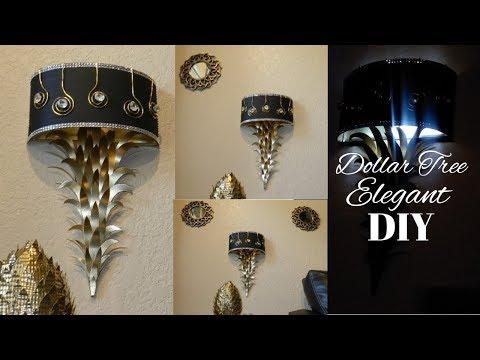 DIY Glam Elegant Wall Lamps   DIY Elegant Black and Gold Home Decor  DIY Elegant Dollar Tree Decor