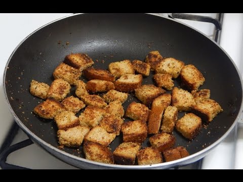 Homemade Croutons Recipe - How to Make Basic Croutons - Restaurant Style Garlic Croutons Recipe