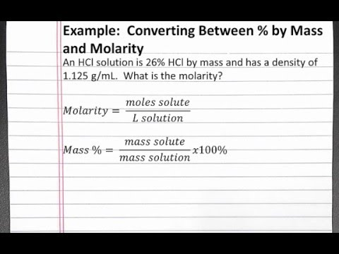 CHEMISTRY 201: Solutions - Converting between Percent By Mass and Molarity