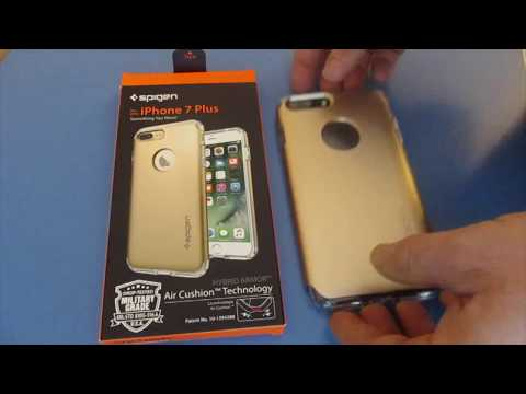 How To Put on a Spigen Iphone 7 or Plus Case Hybrid Armor Air Cushion Technology Military Grade