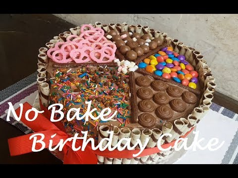 No BAKE Birthday cake with No melt Chocolate Frosting | How to make Birthday Cake |
