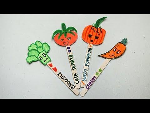 DIY Vegetable bookmark for note holder #3 | Popsicle stick crafts for kids