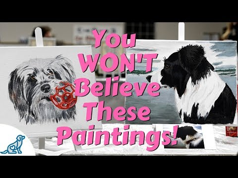 Dog Trainers Doing Dog Portrait Painting