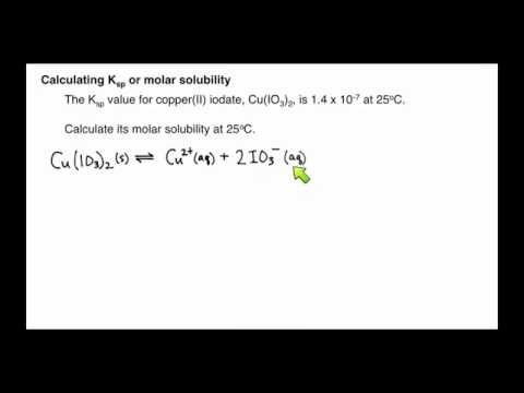Example: Calculating Molar Solubility from Equilibrium Constant (Solubility Equilibrium #2)