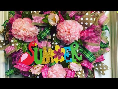 Summer Flamingo  Peony Wreath
