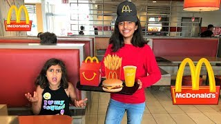 Download Kids pretend play working at McDonald's with surprise toys part 3 Video