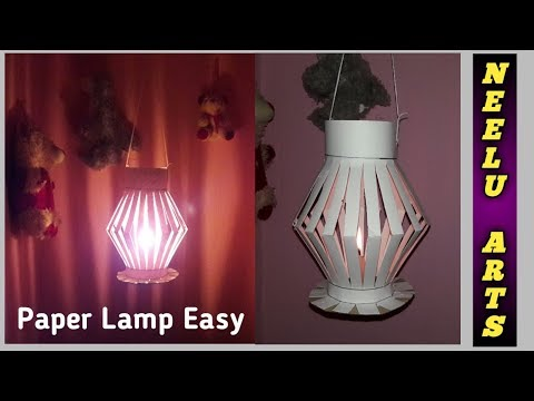 How To Make A Paper Lamp? | Creative Paper Crafting | Paper Art For House Decoration | Neelu Arts