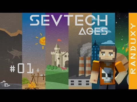 SevTech Ages: Minecraft - Ep.01 - A flint axe, and death by a wolf.
