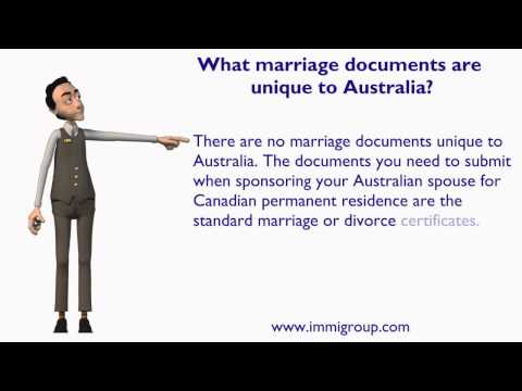 What marriage documents are unique to Australia?