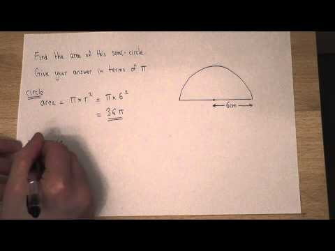 Area : How to find the area of a semi-circle