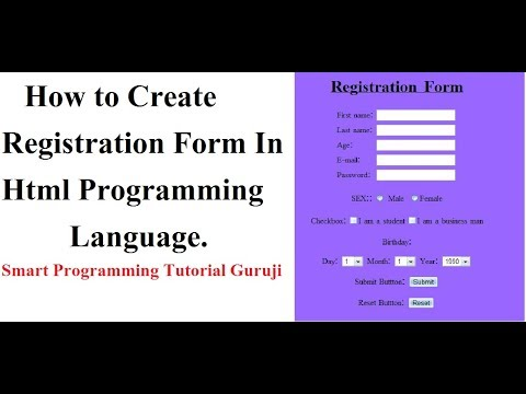 How to Create Registration form(Complete From) In Html Programming Language In Hindi