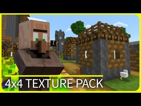 Minecraft PE - WHAT!? 4x4 Texture Pack Showcase with Download - iOS & Android MCPE 1.1 / 1.2 / 1.1.5