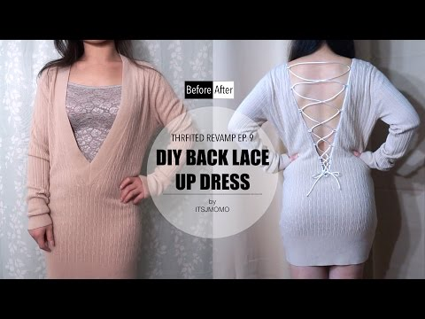 DIY Lace Up Back Dress | Thrifted Revamp Ep. 9