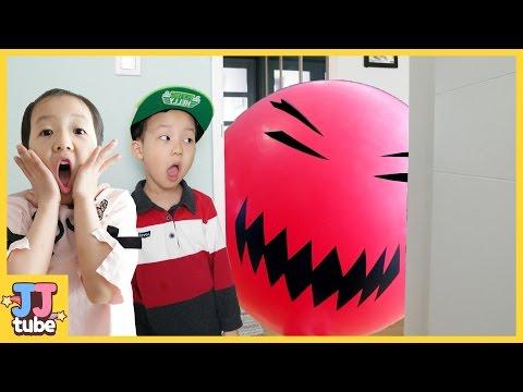 거대 풍선이 서프라이즈 에그 장난감을 먹어버렸어요. Giant Balloon Attacks Surprise Egg Toys [제이제이 튜브-JJ tube]