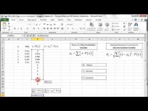 Excel - Discrete Random Variable - Probability Distribution