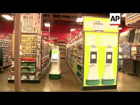 Retail robots assisting shoppers in California