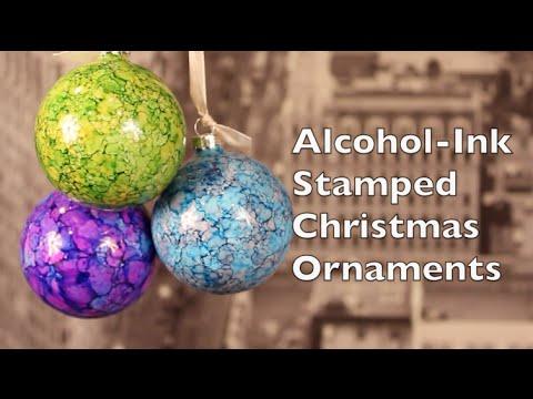 DIY Christmas Decorations   How To Make Alcohol Ink Stamped Christmas Decorations