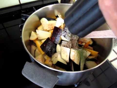 Cooking - eggplant, capsicum, yellow, grey, green squash 01
