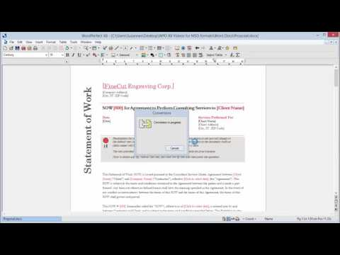 Working with Word files in WordPerfect