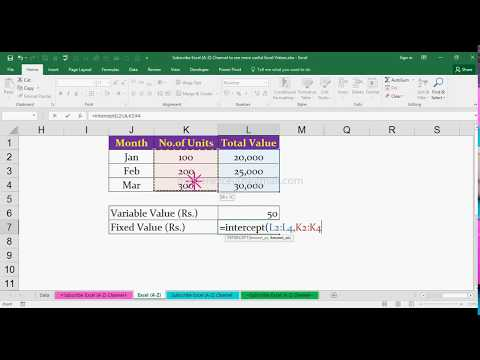 How to Find Variable Cost & Fixed Cost using Formula in MS Excel 2016