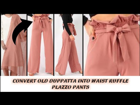 Convert/Recycle/Reuse Old Duppatta into Waist Ruffle PLAZZO Pants/old duppatta reuse(Hindi)