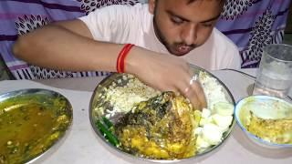 Eating big katla fish (কাতলা মাছ) head curry with banana kofta(কলার কোপ্তা) & rice || Bhukkhar boy