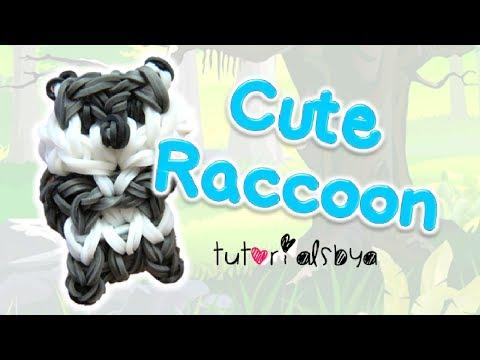 Cute Raccoon Charm / Mini Figurine Rainbow Loom Tutorial | How To