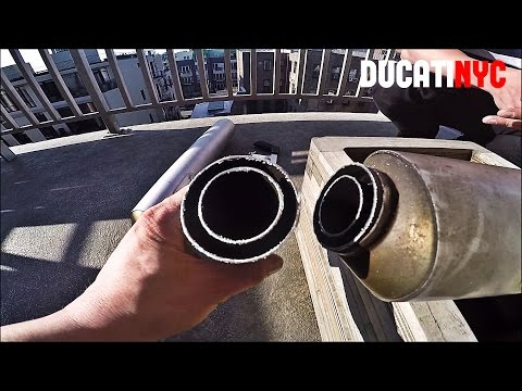 How To Cut Stock Exhausts on a Motorcycle - OEM Ducati Monster - Custom Boom Tubes - v229