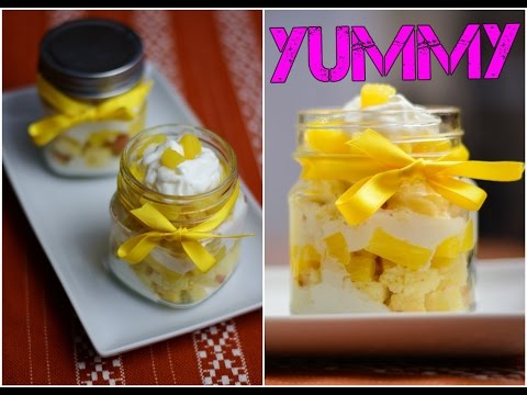 Pinapple Cake in a Jar.  How to make Cake in a Jar. Simple Easy Tasty Desserts