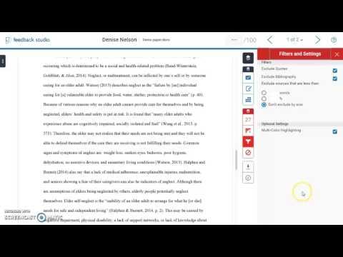 Interpreting Turnitin Feedback Studio Similarity Report