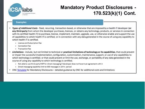 2015 Edition - Certification disclosure and transparency requirements