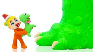 SUPERHERO BABY WILD MUMMY DINOSAUR 💖 Play Doh Cartoons For Kids