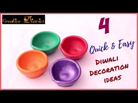 4 Unique and Easy Ideas for Diwali Diya decoration I Very easy Ideas I Creative Diaries